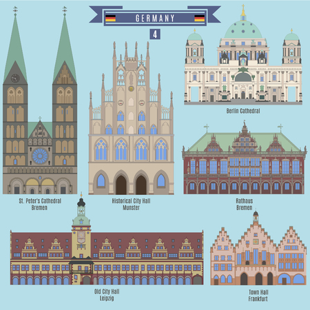 Beroemde plaatsen in Duitsland: Historische Stadhuis, Munster; City Hall, Leipzig; Town Hall, Frankfurt; Rathaus Bremen; Berliner Dom Stock Illustratie