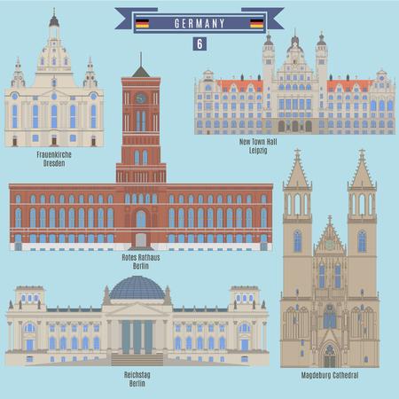 Berühmte Orte in Deutschland: Frauenkirche, Dresden; Rathaus, Leipzig; Rotes Rathaus, Berlin; Reichstag, Berlin; Magdeburger Dom Standard-Bild - 66267795