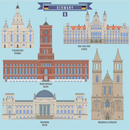 Famous Places in Germany: Frauenkirche, Dresden; Town Hall, Leipzig; Rotes Rathaus, Berlin; Reichstag, Berlin; Magdeburg Cathedral