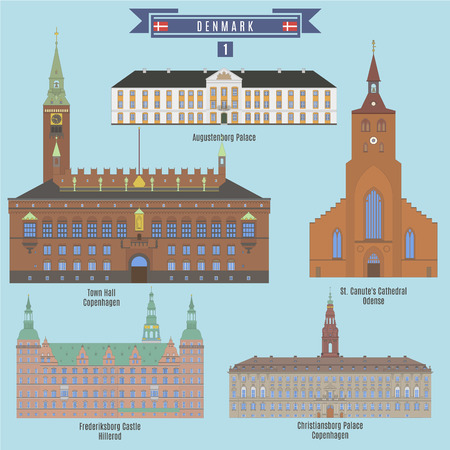 town hall: Famous Places in Denmark: Augustenborg Palace, Town Hall - Copenhagen, Frederiksborg Castle - Hillerod, Christiansbprg Palace - Copenhagen, St. Canutes Cathedral - Odence Illustration