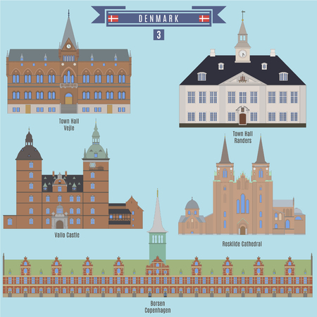 Famous Places in Denmark: Town Hall - Vejle, Town Hall - Randers, Vallo Castle, Roskilde Cathedral, Borsen - Copenhagen