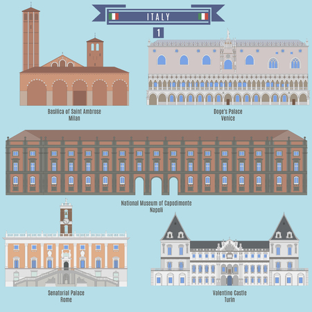 valentino: Famous Places in Italy: Basilica of Saint Ambrose - Milan, Doges Palace - Venice, National Museum of Capodimonte - Napoli, Senatorial Palace - Rome, Valentino Castle - Turin Illustration