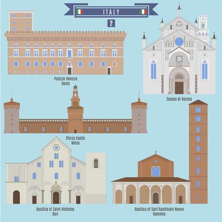 Famous Places in Italy: Palazzo Venezia - Rome, Duomo di Verona, Sforza Castle - Milan, Basilica of Saint Nicholas - Bari, Basilica of Sant Apollinare Nuovo - Ravenna 矢量图像