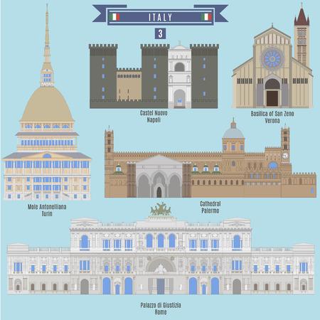 famous places: Famous Places in Italy: Castel Nuovo - Napoli, Mole Antonelliana - Turin, Cathedral - Palermo, Palazzo di Giustizia - Rome, Basilica of San Zeno - Verona
