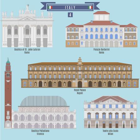 famous places: Famous Places in Italy: Basilica of St. John Lateran - Rome, Palazzo Barberini - Rome, Royal Palace - Napoli, Basilica Palladiana - Vicenza, Teatro alla Scala - Milan