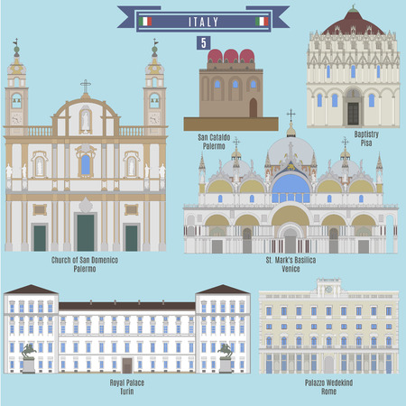 famous places: Famous Places in Italy: Church of San Domenico - Palermo, San Cataldo - Palermo, Baptistry - Pisa, Royal Palace - Turin, St. Marks Basilica - Vinice, Palazzo Wedekind - Rome