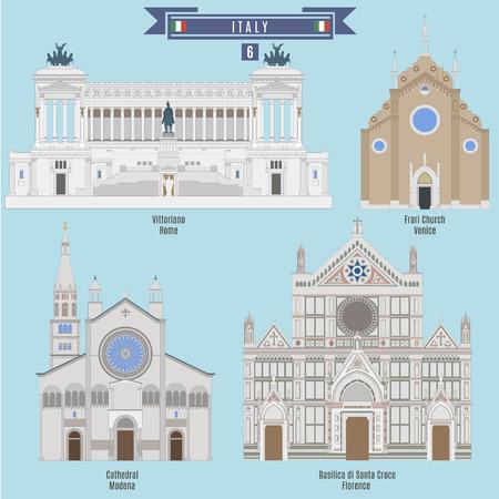 basilica: Famous Places in Italy: Vittoriano - Rome, Cathedral - Modena, Frari Church - Venice, Basilica di Santa Croce - Florence
