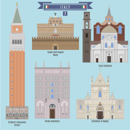 famous places: Famous Places in Italy: St Marks Campanile - Venice, Castel SantAngelo - Rome, Perma Baptistery, Cathedral of Naples, Turin Cathedral