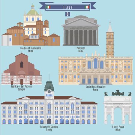 basilica: Famous Places in Italy: Basilica of San Lorenzo - Milan, Pantheon - Rome, Basilica of San Petronio - Bologna, Palazzo del Comune - Trieste, Arch of Peace - Milan, Santa Maria Maggiore - Rome Illustration