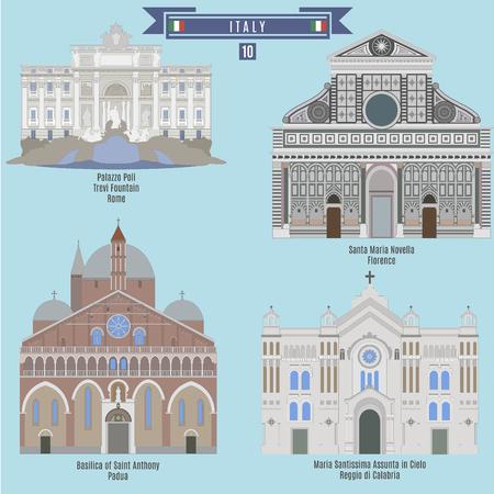 Famous Places in Italy: Palazzo Poli - Rome, Santa Maria Novella - Florence, Basilica of Saint Anthony - Padua, Maria Santissima Assunta in Cielo - Reggio di Calabria Illustration