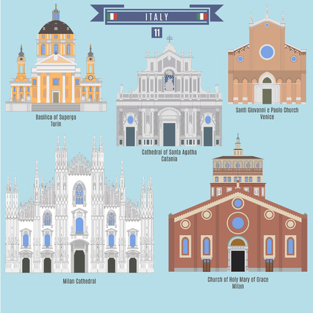 turin: Famous Places in Italy: Basilica of Superga - Turin, Milan Cathedral, Cathwdral of Santa Agatha - Catania, Santi Giovanni e Paolo Church - Venice, Church of Holy Mary of Grace - Milan