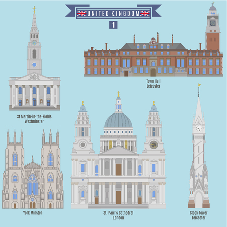 famous places: Famous Places in United Kingdom: Town Hall - Leicester, York Minster, St. Pauls Cathedral - London, Clock Tower - Leicester, St. Martin-in-the-Fields - Westminster Illustration
