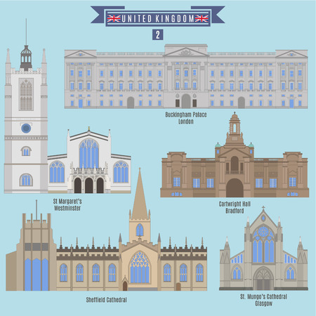 buckingham: Famous Places in United Kingdom: Buckingham Palace - London, St. Margarets - Westminster, Cartwright Hall - Bradford, Sheddield Cathedral, St. Mungos Cathedral - Glasgow Illustration