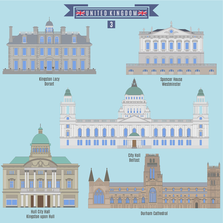 famous places: Famous Places in United Kingdom: Kingston Lacy - Dorset, Spencer House - Westminster, City Hall - Belfast, Hull City Hall - Kingston upon Hull, Durham Cathedral Illustration