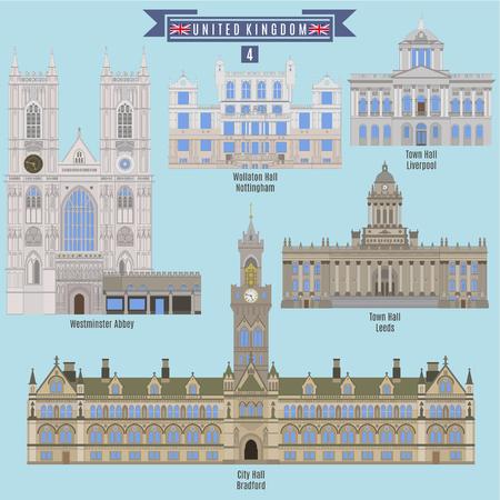 イギリスの有名な場所: あります, ウラトン ホール - ノッティンガム、市庁舎 - リバプール、ウェストミン スター寺院、市庁舎 - リーズ シティ ホー