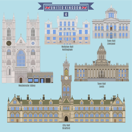 Famous Places in United Kingdom: Wollaton Hall - Nottingham, Town Hall - Liverpool, Westminster Abbey, Town Hall - Leeds, City Hall - Bradford Illustration