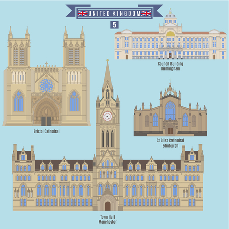 town hall: Famous Places in United Kingdom: Bristol Cathedral, Council Building - Birmingham, St. Giles Cathedral - Edinburgh, Town Hall - Manchester Illustration