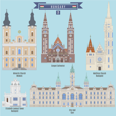 Famous Places in Hungary: Minorite Church - Miscolc, Szeged Cathedral, Matthias Church - Bedapest, City Hall - Gyor, Elizabeth Lookout Tower - Budapest