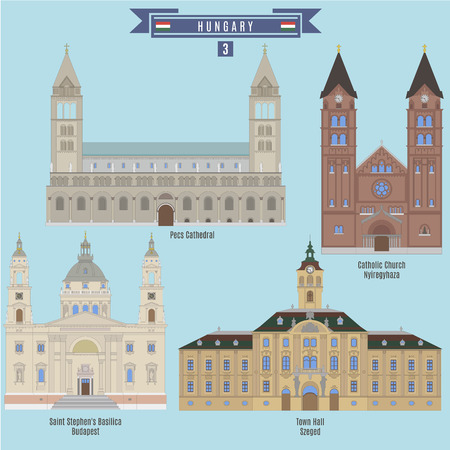 famous places: Famous Places in Hungary: Pecs Cathedral, Catholic Church - Nyiregyhaza, Saint Stephens Basilica - Budapest, Town Hall - Szeged