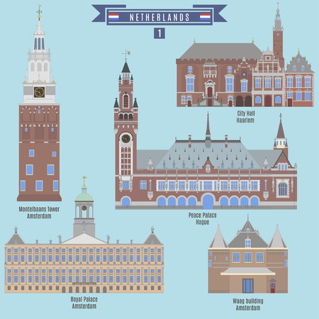 Famous Places in Netherlands: City Hall - Haarlem, Montelbaans Tower, Royal Palace and Waag building - Amstredam, Peace Palace - Hague