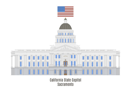 California State Capitol is home to the government of California, United States of America Illustration