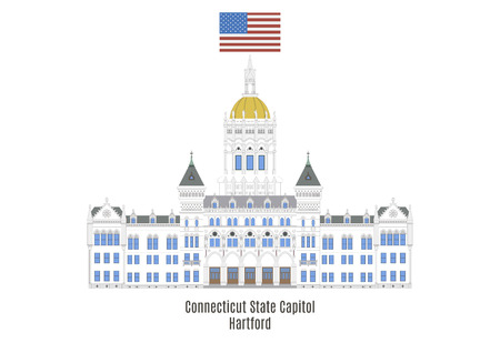 american cities: Connecticut State Capitol, Hartford, United States of America Illustration