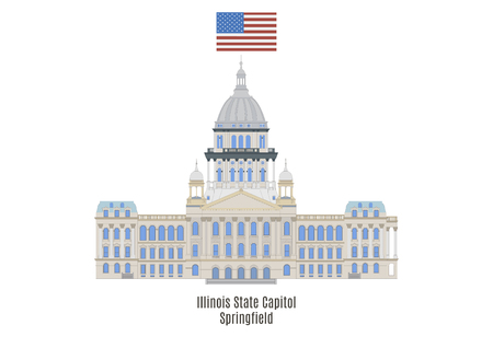 american cities: Illinois State Capitol, Springfield, United States of America Illustration