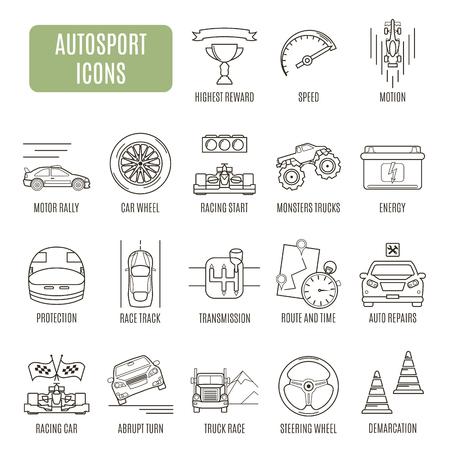 autosport: Autosport  icons. Set of vector pictogram for web graphics
