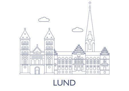 Lund, Schweden. Die berühmtesten Gebäude der Stadt Standard-Bild - 81799253