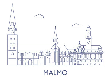 Malmo, Sweden. The most famous buildings of the city