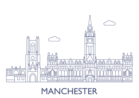 Manchester, United Kingdom. The most famous buildings of the city Illustration