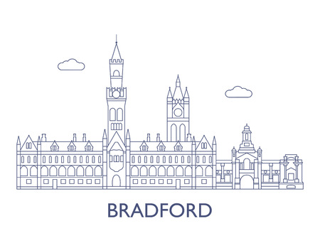 Bradford, United Kingdom. The most famous buildings of the city Illustration