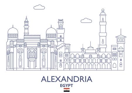 Alexandria linear city skyline in Egypt vector illustration Illustration
