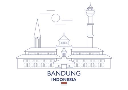 Bandung linear city skyline in Indonesia vector illustration