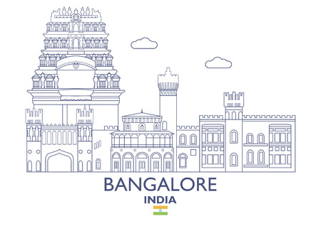 Bangalore linear city skyline in India vector illustration