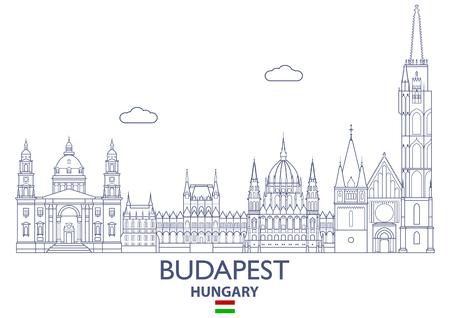 Lineaire Stadshorizon van Boedapest, Hongarije Stock Illustratie