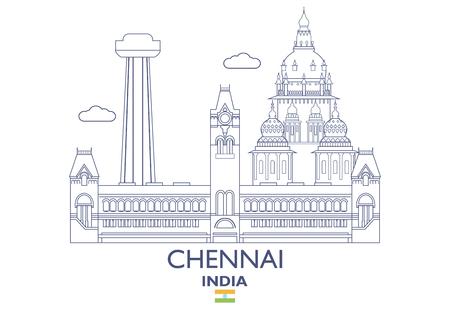 Chennai linear city skyline in India vector illustration Illustration