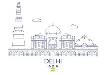 Delhi linear city skyline in India vector illustation
