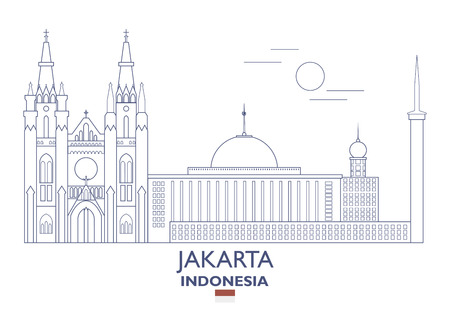 Jakarta linear city skyline in Indonesia vector illustration