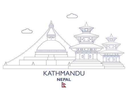 Kathmandu linear city skyline in Nepal vector illustration