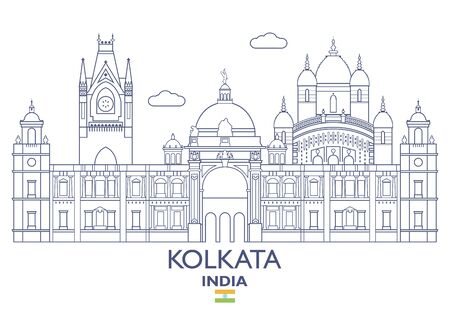 Kolkata linear city skyline, India Stock Vector - 84914259
