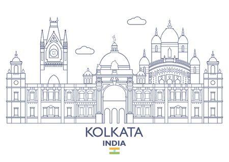 Kolkata linear city skyline, India