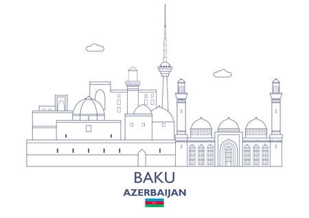 Baku Linear City Skyline, Azerbaijan Vector illustration.