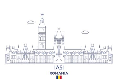 Iasi Linear City Skyline, Romania Illustration
