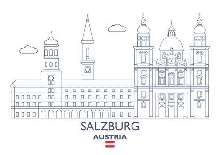 Salzburg Linear City Skyline, Austria Illustration