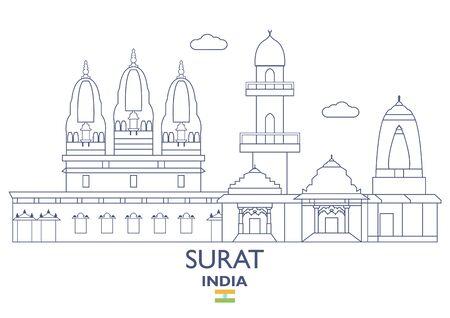 Surat Linear City Skyline, India Stock Vector - 85644178