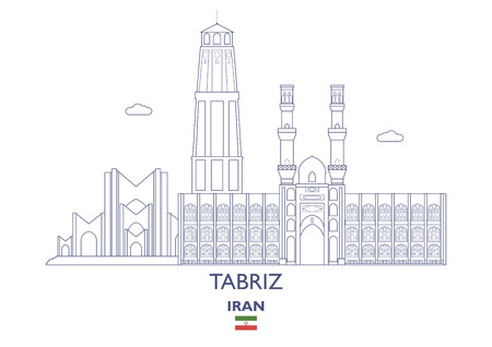 Tabriz Linear City Skyline,이란 일러스트