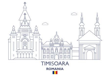 Timisoara Lineaire Stadshorizon, Roemenië Stock Illustratie