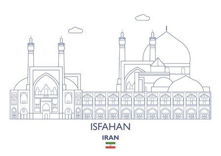 Isfahan Linear City Skyline, Iran Vector Illustration