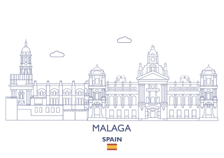 Malaga Linear City Skyline, Spain Illustration